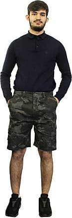 Saute Styles Mens Boys Elasticated Combat Cargo Shorts Camo Camouflage Army Summer Half Pants Size M