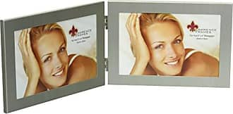 Lawrence Frames Brushed Silver 6 by 4 Hinged Double Metal Picture Frame