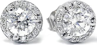 Pompeii3 VS.85CT Pave Halo Martini Diamond Studs 14K White Gold Womens Earrings