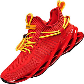 LanFengeu Men Walking Shoes Shock Absorbing Breathable Lace up Casual Sneakers Outdoor Sport Jogging Fitness Running Shoe Red