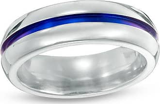 Zales Radiance by Edward Mirell Mens 7.0mm Comfort Fit Blue Anodized Wedding Band in Titanium