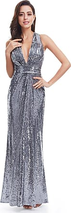Ever-pretty Womens Deep V Neck Sparkle Long Formal Dresses for Party 14UK Grey