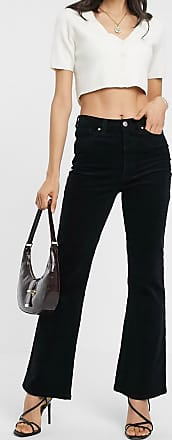 Warehouse corduroy flared trousers in black