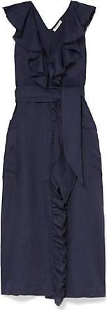 Three Graces London Mabel Wrap-effect Ruffled Linen Dress - Indigo