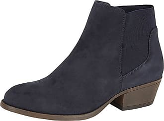 Lora Dora Womens Chunky Block Heel Chelsea Boots Aukland Navy UK 5