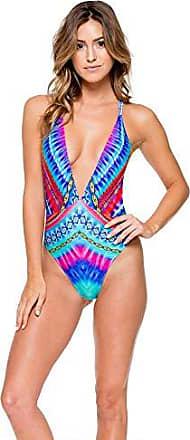 623986e92e0 Luli Fama Womens Star Girl Deep V Crossed-Back Reversible One Piece Swimsuit,  Multi