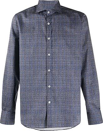 Canali Camisa com estampa pied-de-poule - Azul