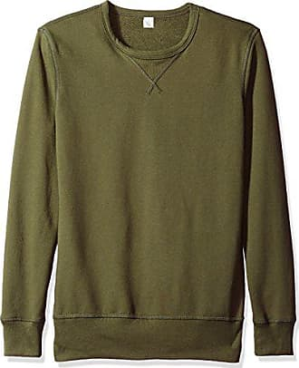 Alternative Mens Vintage Sport French Terry B-Side Reversible Crew Neck, Utility Green, XL
