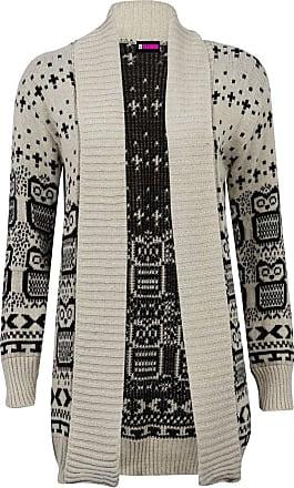21Fashion New Womens Ladies Owl Print Knitted Long Sleeve Jumper Open Cardigan Size UK 8-22 STONE UK 12-14 = US 8-10
