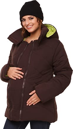 Happy Mama Happy Mama. Womens Maternity Padded Jacket Hood Carrier Removable Insert. 075p (Brown, UK 16, 2XL)