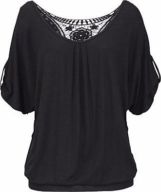 QIYUN.Z Women Summer Short Sleeve Shirts Open Back Crochet Lace Loose Tops Blouse