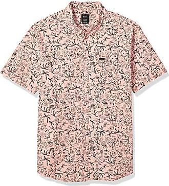4f556799 Rvca Mens Sketchy Palms Short Sleeve Woven Button Front Shirt, Coral, XL