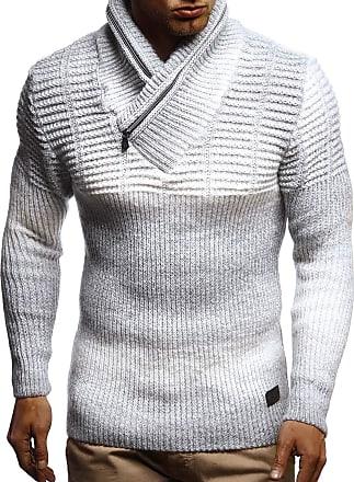 LEIF NELSON Mens Pullover Knit Sweater Chunky Knit Shawl Collar LN-5700 Grey Medium