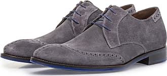 Floris Van Bommel Dunkelgrauer Wildleder-Schnürschuh mit Print, Business Schuhe, Handgefertigt