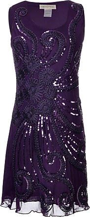 Anna Kaci Womens Floral 1920s Flapper Beaded Sequin Sleeveless Party Dress, Purple, Small