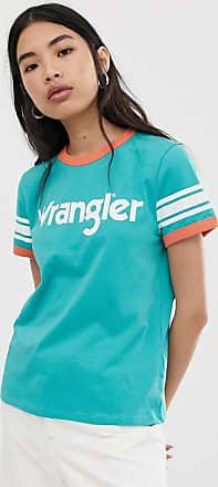 Wrangler T-shirt con bordi a contrasto, logo e righe sulle maniche-Blu