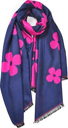 Your Dezire Four-Leaf Clover Printed Pashmina Scarf Large Shawl Winter Scarve Celebrity Style Wraps (Fuchsia/Navy)