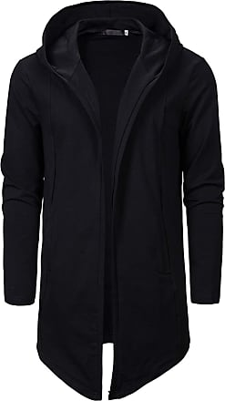 Whatlees Fashion Men Hooded Jacket Long Cardigan Black Goth Gothic Punk Hoodie 02010355+XXL
