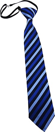TigerTie Security tie necktie blue dark blue striped - Pre-bound with elastic