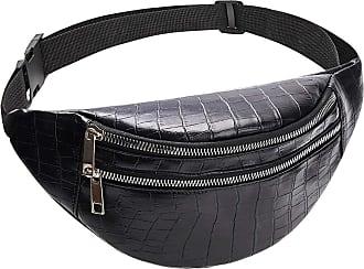 NA belt bag waist packs for women designer Luxury bag crocodile women PU leather bag Fanny Pack message ba,Black-Black