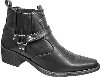 US Brass Mens US Brass Black Harness Cowboy Ankle Boots (11)