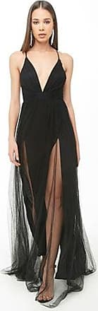 Forever 21 Forever 21 Plunging Mesh Prom Gown Black