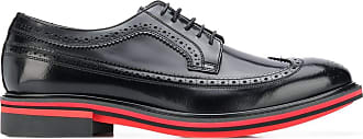 Paul Smith Chase contrast-trimmed leather brogues - Preto