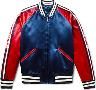 1ff2fe1fc7f Gucci Reversible Webbing-trimmed Satin-twill Bomber Jacket - Storm blue
