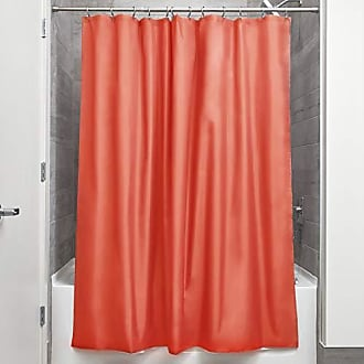 InterDesign iDesign Fabric Shower Curtain, Water-Repellent and Mold- and Mildew-Resistant Liner for Master, Guest, Kids, College Dorm Bathroom, 72 x 72 - Orange
