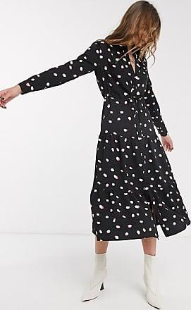 Topshop tiered midi dress in black spot print