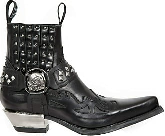 New Rock M.7950-S9 Black Ankle Boots Western Goth Strap Skull Studded Metal 40
