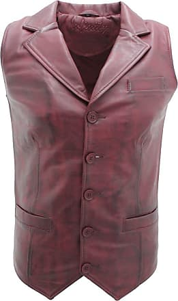 Infinity Mens Classic Smart Burgundy Leather Waistcoat M