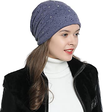 DonDon Womens Slouch Beanie with Stars and Black Strass Rhinestones with Soft Inner Lining - Blue