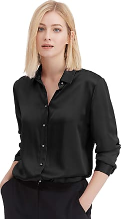 LilySilk Silk Shirts for Women Basic Formal Office Vintage Long Sleeve Pearl Button Down Silk Blouse Tops for Ladies Black XL