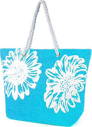 Universal Textiles Womens/Ladies Floral Print Woven Summer Handbag (One Size) (Turquoise)