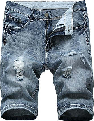 Yonglan Mens Slim Fit Shorts Jeans Shorts Knee Length Hole Ripped Denim Jeans Half Pants Blue Grey 34