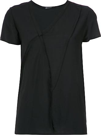 Uma Blusa de seda assimétrica - Preto