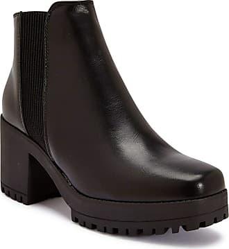 Truffle 100% Vegan, Womens, Black Faux Leather Block Heel Ankle Boots Booties Shoes - Black - UK 5