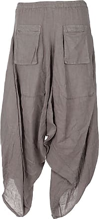 NEW Italian Lagenlook 2 Pocket Boho Linen Harem Baggy Plain Ladies Trousers