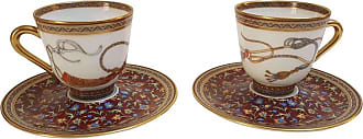 Hermès Porcelain cheval Dorient Coffee Cups And Saucer For Two, France