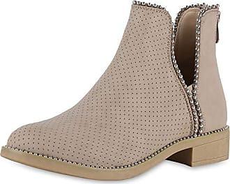 7e0d470759bea9 Scarpe Vita Damen Stiefeletten Ankle Boots Leder-Optik Schuhe Nieten Cut  Out Booties Kurzschaft-