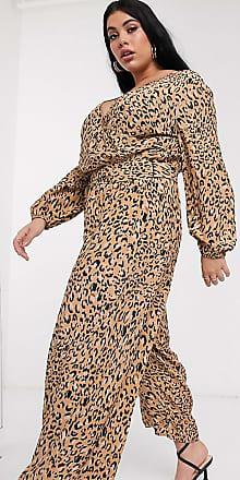 Asos Curve ASOS DESIGN Curve - Tuta jumpsuit a portafoglio con allacciatura e stampa leopardata-Multicolore