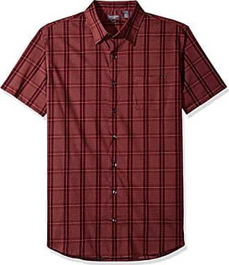 Van Heusen Mens Flex Stretch Short Sleeve Non Iron Shirt, Burgundy Oxblood, X-Large Tall