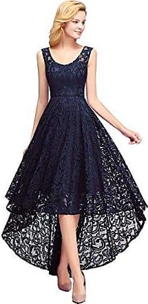 0138556fa0b5d MisShow Abendkleid Elegant Spitzenkleid Unregelmässiger Asymmetrischer Festliches  Kleid Cocktail Navyblau 46