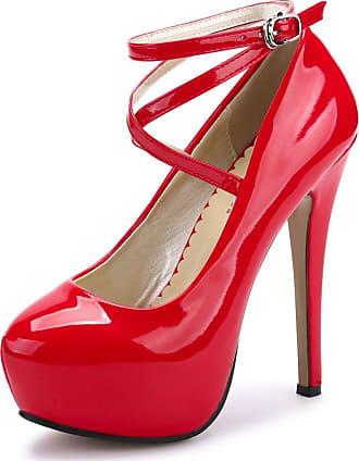 OCHENTA Womens Ankle Strap Platform Pump Party Dress High Heel Red Size: 6 UK