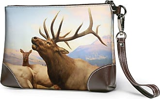 GLGFashion Womens Leather Wristlet Clutch Wallet Elk SuperJumbo Storage Purse With Strap Zipper Pouch