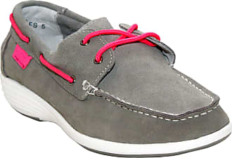 Boulevard Womens Ladies Genuine Suede Leather Lace Up Girls Casual Loafer Deck Boat Shoes UK Sizes 3-8 (UK 7, Grey/Pink)