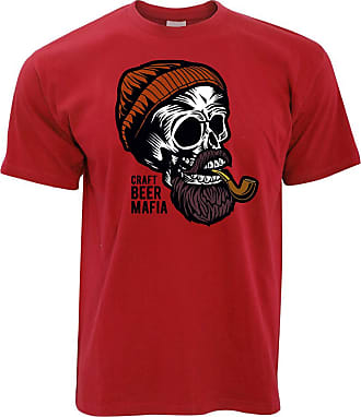 Tim And Ted Alcohol T Shirt Craft Beer Mafia Skull - (Red/Large)