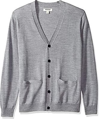 Goodthreads Mens Merino Wool Cardigan Sweater, Heather Grey, Large