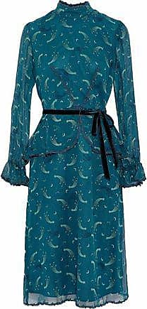Anna Sui Anna Sui Woman Guipure Lace-trimmed Printed Silk-chiffon Peplum Dress Teal Size 0